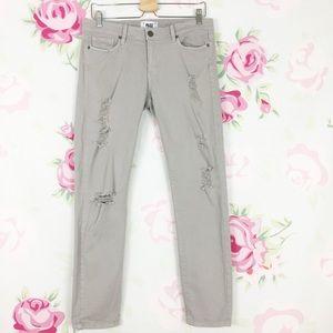 PAIGE Gray Distressed Skyline Ankle Peg Jeans 30